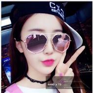 送眼鏡盒 韓國六角 玫瑰金 雙框太陽眼鏡 玫瑰金 粉色框  實拍 【I06】