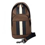 COACH 新款直紋配色男款雙層單肩背包胸前包(直紋焦糖)