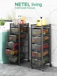 NETEL Kitchen Rack Trolley Kitchen Cart Storage Racks Office Shelves Book Shelving Kitchen Organizers Space Savers, Black