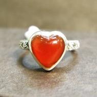 【La luna 銀飾豐華】[#44、#46]甜美細緻。心形。紅玉髓、馬克賽石。純銀戒指