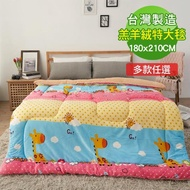 【BELLE VIE】台灣製 加厚羊羔法蘭絨暖暖被大毯180x210cm(多款任選)