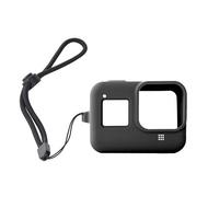 3D Air GoPro HERO8 防滑防摔矽膠保護套-附防丟手繩(黑色)