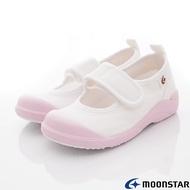 日本Moonstar機能童鞋 日製絆帶抗菌室內鞋 024粉(中小童段)