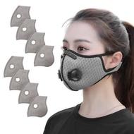 活力揚邑 透氣網雙氣閥防塵霾機車運動口罩活性碳五層濾芯8入 -