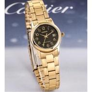 Casio Standard รุ่น LTP-V002G-1B นาฬิกาข้อมือผู้หญิง สายสแตนเลสสีทอง/หน้าปัดดำ (สินค้าของแท้ 100% ประกันศูนย์ CMG 1 ปี