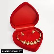 Inspire Jewelry ชุดเซ็ทเต่านพเก้า สร้อยข้อมือเต่านพเก้า พร้อมต่างหูเต่านพเก้า สวยหรู ตัวเรือนหุ้มทองแท้ 100% 24K พรเก้าประการ นำโชค เสริมดวง