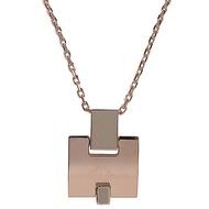 HERMES Eileen 時尚配件經典H LOGO銀飾項鍊.玫瑰金/白