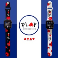 Liquid Silicone Strap Band for Apple Watch 42mm 38mm 44mm 40mm Rubber Bracelet Watchbands Black Straps watch Series 6/5/4/3/2/1 Wristband Red heart