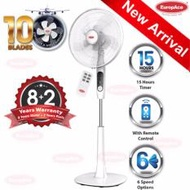 """EuropAce 16"""" Stand Fan with 10 Blades and remote control - ESF 6161T"""