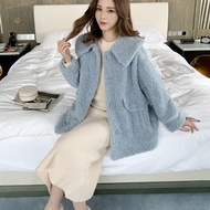 Lamb Wool Short Coat for Women Autumn and Winter New Korean Style Loose Fur Integrated Thickened Furry Lapel Cotton-Padded Coat Trendy