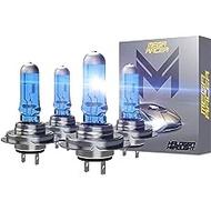 Mega Racer 4 Bulbs H7 Headlight Bulb H7 Halogen Headlight Bulb 12V 100W 5000K Super Ultra White 2 x High Beam Headlight Bulb 2 x Low Beam Headlight Bulb Xenon H7 Car Headlight Bulbs H7 Head Light Bulb