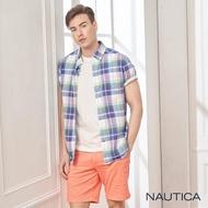 【NAUTICA】多彩格紋短袖襯衫(藍綠格)