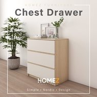 [READY STOCK] Chest Drawer with 3 Layer Drawer Storage Cabinet Wadrobe IKEA Inspired - 2.5 ft