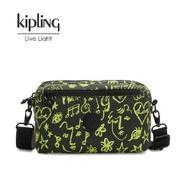 JS快樂購物 現貨 KIPLING猴子包 Christine Lau聯明款-螢光綠音樂塗鴉側背腰包  如需要可代購