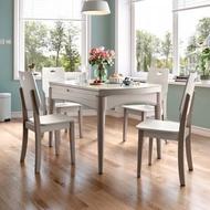 林氏木業時尚簡約大理石紋鋼化玻璃折疊圓餐桌 1.2M+餐椅 LS159(一桌四椅)-灰白色