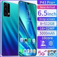 【100% original】P43 Pro+ phone 6.5 Inch Smartphone 8GB RAM 512GB ROM  Smartphone Murah Handfon Handphone Mobile phones Telefon Gift