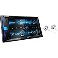 """JVC 6.2"""" Touchscreen Double DIN in-Dash Bluetooth CD/DVD AM/FM Digital Media, Front and Rear USB Input, Pandora, Spotify and iHeartRadio Control Car Stereo Receiver with ALPHASONIK Earbuds"""