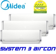 MIDEA SYSTEM 3 AIRCON MS40D32-2XSMKM09-1XSMKM18 (2x 9000btu / 1x 18000btu)(Free Replacement & Disposal of Old Aircon)