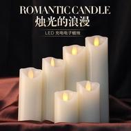 【現貨】5.3cm USB充電 斜口搖擺LED電子蠟燭 婚慶生日仿真酒吧石蠟 蠟燭燈 求婚布置 浪漫氛圍燈