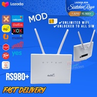 100% New 4G Modified Router Modem RS980 Hotspot Unlimited 4G LTE WiFi Sim Card Router Unlimited WiFi 4 LAN Port 2 Antenna RS860 RS980+ C300 B310