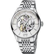 ORIS豪利時 Artelier Skeleton 雙鏤空機械錶-銀/40mm 0173477214051-0782179