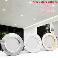 Set of 6PCS  Tricolor  Ultra Bright Round LED Downlight 5W  9W 12W 15W 18W Aluminum AC110V 220V LED Down Light Ceiling Recessed Spot Light