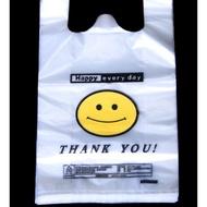 笑臉背心袋塑膠袋定制透明食品袋馬甲購物袋外賣打包袋手提方便袋