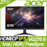 【hd數位3c】ACER VG270 S(2H1P/2ms/IPS/165Hz/含喇叭/FreeSync/HDR10)電競機