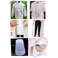 廚師服 中餐丙級乙級考證、廚師衣服白上衣、白網帽、半身白圍裙,另售廚師皮鞋