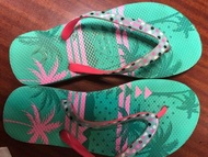 TRIBORD繽紛色彩/夏威夷度假風/水玉點點/海邊沙灘比基尼沙灘拖//夾腳拖/沙灘拖鞋/Tiffany 綠搭螢光粉/不撞款