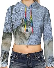 Wild Animals Wolf Print Hoodies,Women'S Casual Long Sleeve Pullover Crop Tops Sweatshirt