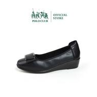 POLO CLUB รุ่น P1835 รองเท้าคัชชูหนัง ส้นเตารีด หัวมน สีดำ