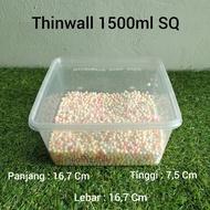 1Thinwal Dm 1500Ml Sq / Thinwall Kotak Plastik 1500 Ml @1Pack