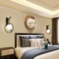 床頭燈新中式花鳥壁燈臥室床頭簡約客廳創意個性壁掛旋轉藝術圓形樓梯燈JD CY潮流站