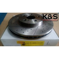 ● 凱興國際●全新YDL原廠規格打孔通風劃雙線碟盤TOYOTA豐田 WISH 2.0 前盤一對275mm雙