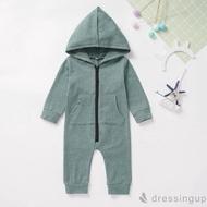 d❃♪嬰兒長袖純色拉鍊連帽連身衣