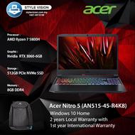 "Acer Nitro 5 Gaming Laptop (AN515-45-R4K8) (AMD Ryzen7 5800H/8GB DDR4/512GB SSD/Nvidia RTX3060-6GB /15.6""FHD 144Hz/Window10/2 Years Local Warranty With 1st Year ITW)"
