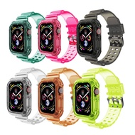 MOUFU TPU Crystal Clear Adjustable Silicone Watch Band Compatible with Apple Watch Sport Strap Compatible with Watch Series6/5/4/3/2/1/SE
