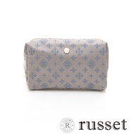 russet 經典系列緹花布化妝包(大) -灰/藍
