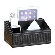 梯形造型皮革面紙盒 手機架 面紙盒 抽取式 面紙 衛生紙盒 桌面 桌上 收納 置物盒 多功能(黑編織紋)