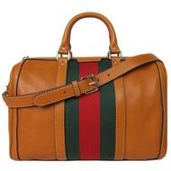 GUCCI Vintage Web 經典皮革紅綠織帶兩用波士頓包(棕)