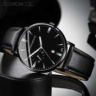ECONOMICXI นาฬิกาผู้ชายราคาถูก นาฬิกาข้อมือ ตัวเรือนสแตนเลส สายหนังนาฬิกา,บอกวันที่ได้ เข็มมีพรายน้ำเรื่องแสง,กันน้ำ รุ่นใหม่ในปี 2021 (Casio movement ของญี่ปุ่น)