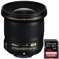 Nikon AF-S NIKKOR 20mm F/1.8G ED レンズ (20051) + Sandisk Extreme PRO SDXC 128GB UHS-1 メモリーカード