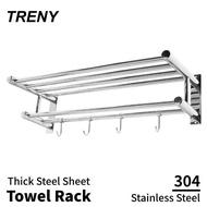 【TRENY】浴室毛巾置衣架 加厚不鏽鋼304(毛巾架 置物架)