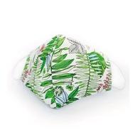 3D耳掛式成人款可放不織布濾材透氣純棉進口布口罩套(清新綠意)