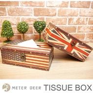 米鹿家居 英國美國國旗面紙盒 長方形抽取式衛生紙盒 皮質木製款 復古美式英倫風 擺飾雜物發票 交換禮物 收納置物盒紙巾盒
