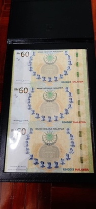 2017 MALAYSIA 60 YEARS COMMEMORATIVE RM60 uncut RINGGIT MRR 60 UNC WITH FOLDER 3 in 1