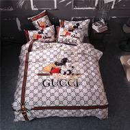 貢緞真絲床包 Gucci&迪士尼米奇 米老鼠床包組 頂級天絲 舒適 柔滑 Gucci四件套 雙人/ 加大床包 床包四件套