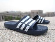 Shoestw【G15892】ADIDAS DURAMO SLIDE 拖鞋 一體成型 深藍白條 男女都有