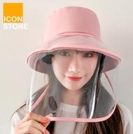 [พร้อมส่ง]Face Shield หมวกกันแดด หน้ากากแบบใส เกราะหน้าใส หน้ากากเช็ดทำความสะอาดได้ หมวกหน้ากาก ICONSTORE